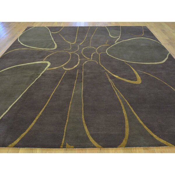 One-of-a-Kind Brandeis Hand-Knotted Brown Wool/Silk Area Rug by Isabelline