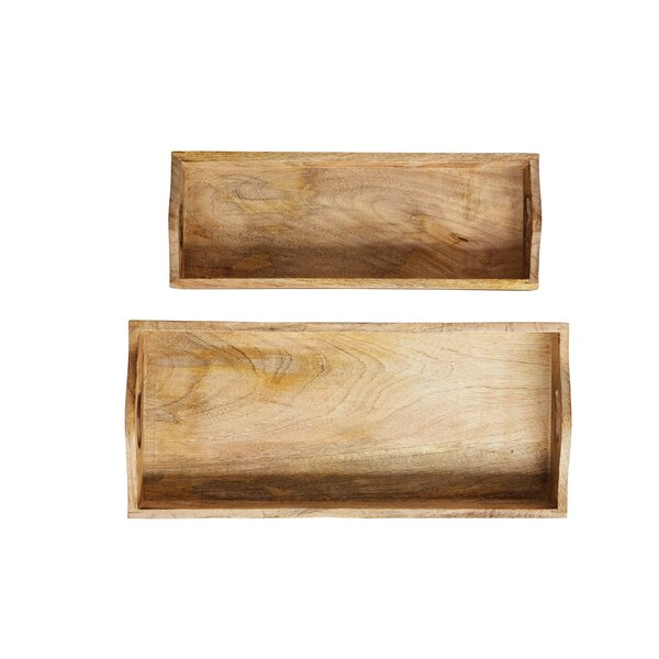 Thornton Rectangle Mango Wood 2 Piece Serving Tray Set by August Grove