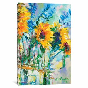 Sunflowers in Glass Bottles Painting Print on Wrapped Canvas by August Grove