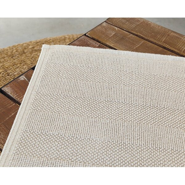 Leslie Rectangle Cotton Blend Non-Slip Geometric Bath Rug