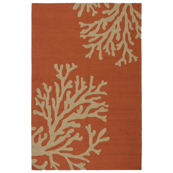 Fortson Hand-Hooked Indoor/Outdoor Burnt Orange Area Rug