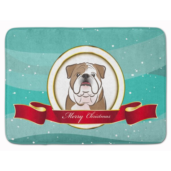 English Bulldog Merry Christmas Memory Foam Bath Rug by The Holiday Aisle