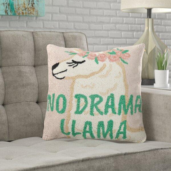 Bloomington No Drama Llama Hook Throw Pillow by Wrought Studio