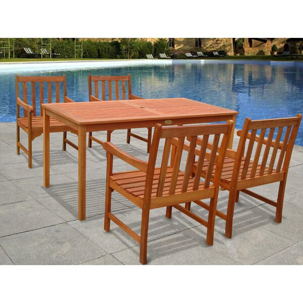 Amabel Outdoor 5 Piece Dining Set by Beachcrest Home