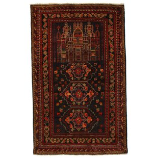 Inexpensive Afghan Baluch Hand-Knotted Wool Brown/Black Area Rug ByPasargad NY