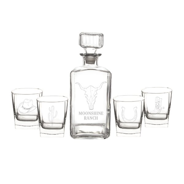 Personalized Western 5 Piece Decanter Set by Cathys Concepts