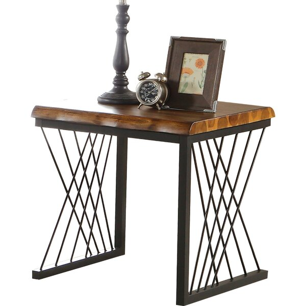Maggie Metal Frame Wooden End Table by Foundry Select