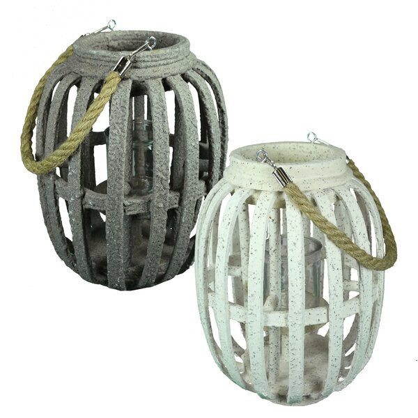 Wood and Glass Lantern (Set of 2) by Breakwater Bay