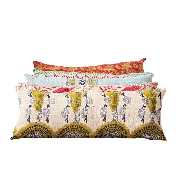 Johnsonburg Vintage Kantha Cotton Lumbar Pillow by Bungalow Rose