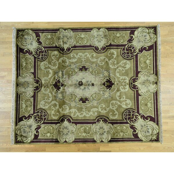 One-of-a-Kind Beverly European Design Handwoven Green Wool Area Rug by Isabelline