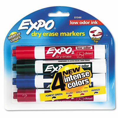 Low Odor Dry Erase Markers, Chisel Tip, Assorted,
