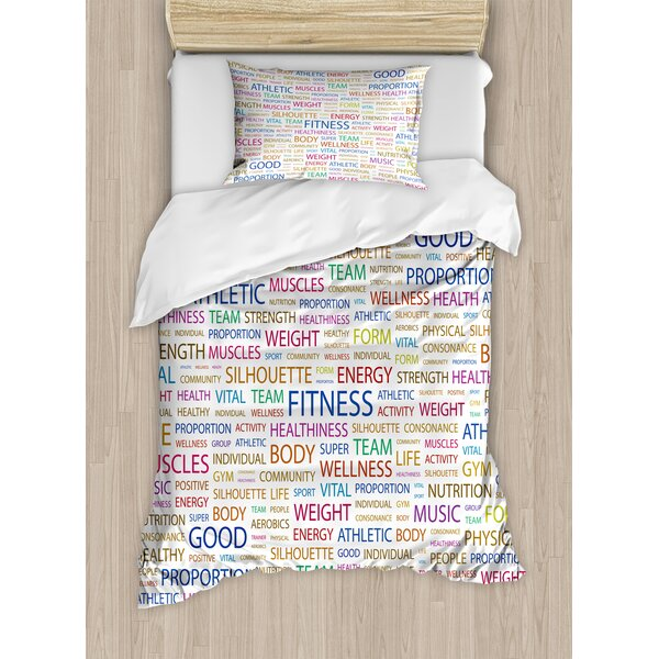 Gymnastics Psychical Activity Lifestyle Concept Words Salubrity Wellness Health Duvet Set by East Urban Home