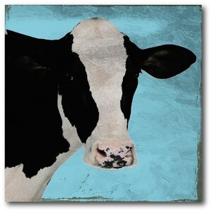 'Blue Sky Cow' Painting Print on Canvas by Gracie Oaks