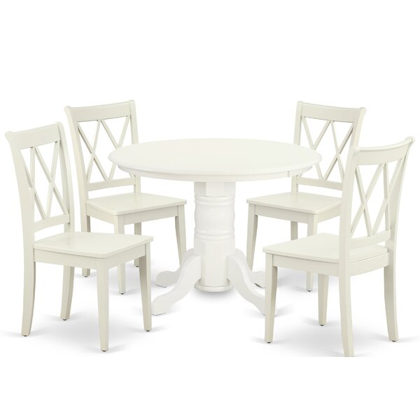 Kutcher 5 Piece Solid Wood Dining Set by August Grove