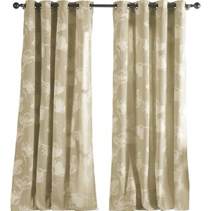 Plumville Nature/Floral Semi-Sheer Grommet Single Curtain Panel