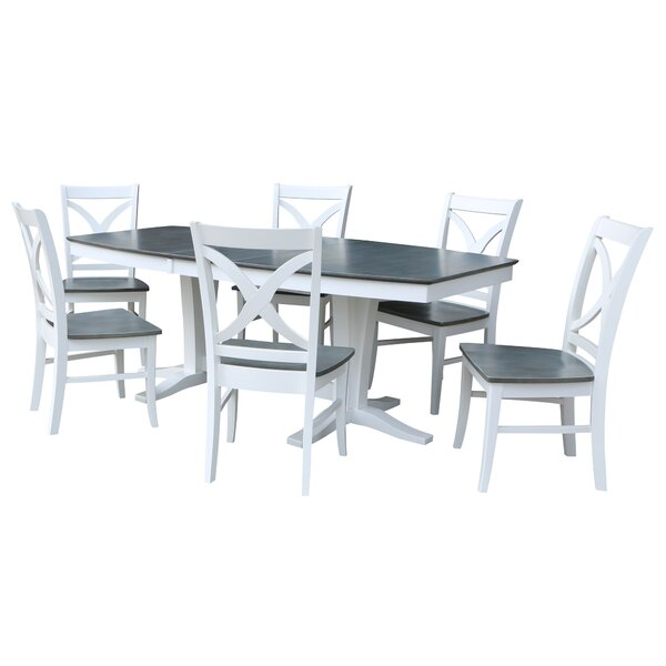 Aarush 7 Piece Extendable Solid Wood Dining Set by Rosecliff Heights