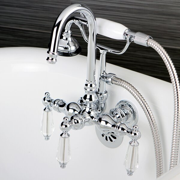 Wilshire Triple Handle Wall Mount Clawfoot Tub Faucet with Hand Shower by Kingston Brass