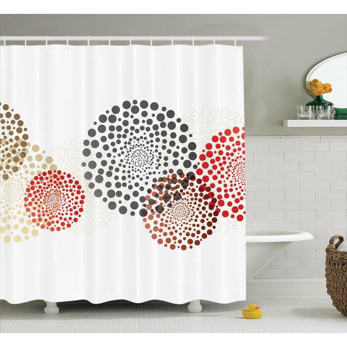 Ebern Designs Agawam Circled Modern Dots Shower Curtain & Reviews ...
