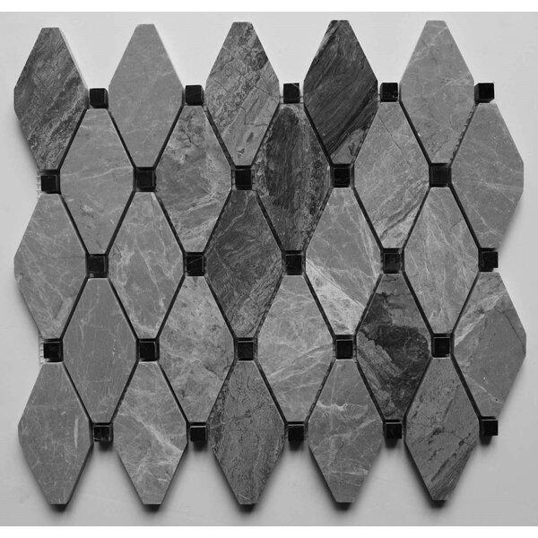 Clipped Diamond Polished 2 x 2 Marble Mosaic Tile in Grigio Fantasia by Ephesus Stones