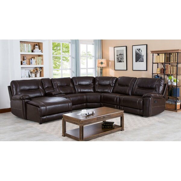 Pottorff Leather Reclining Sectional By Red Barrel Studio