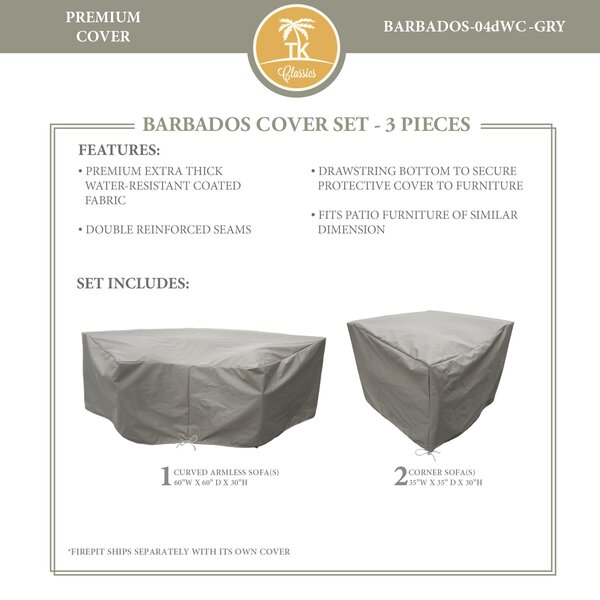 Barbados 3 Piece Water Resistant Patio Sofa Cover Set by TK Classics
