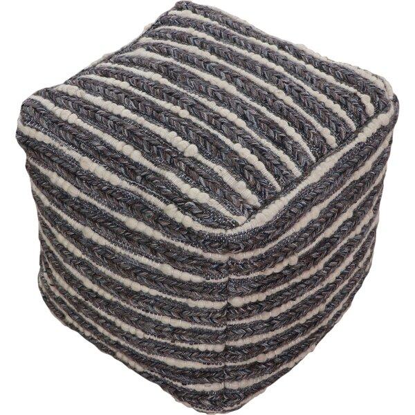 Brimmer Jute, Polyester, Wool Smokey Gray Pouf by Union Rustic