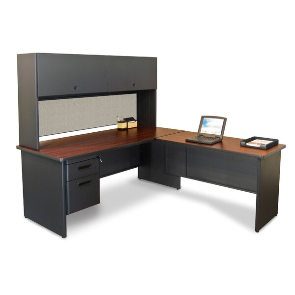 Pronto Return L-Shape Executive Desk with Hutch by Marvel Office Furniture