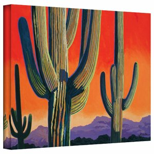 'Saguaro Dawn' Print of Painting on Wrapped Canvas by Zipcode Design