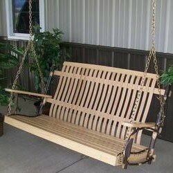 Brookins Hickory Porch Swing by Loon Peak