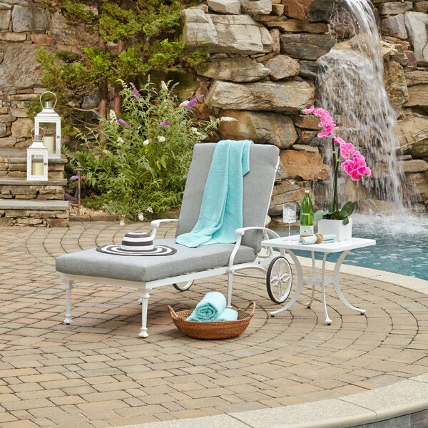 Flagg Cast Aluminum Outdoor Chaise Lounge with Cushion and Table by Darby Home Co Darby Home Co