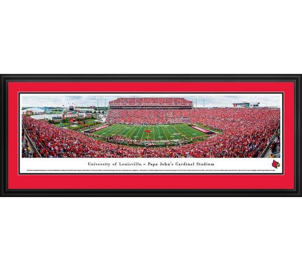 NCAA Louisville Cardinals Football 50 Yard Line Framed Photographic Print by Blakeway Worldwide Panoramas, Inc