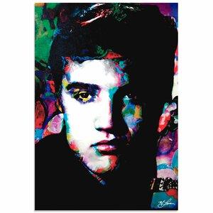 'Elvis Presley Electric Ambition' by Mark Lewis Painting Print by Metal Art Studio