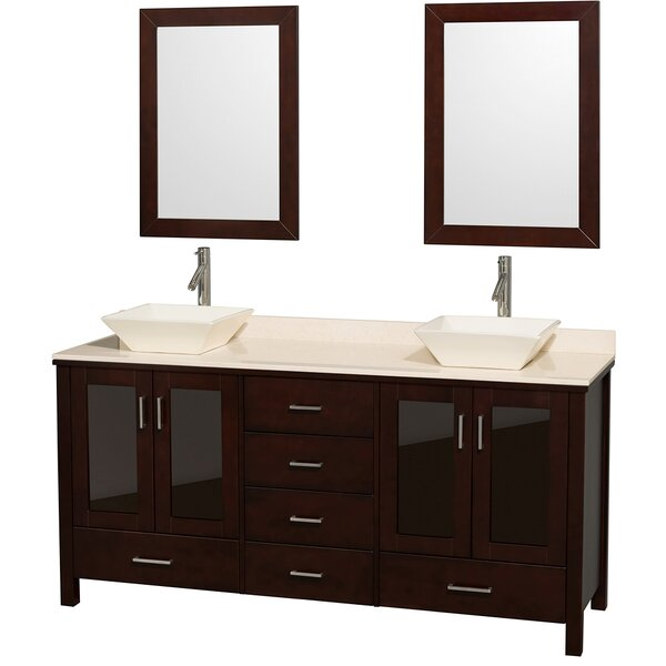 Lucy 72 Double Espresso Bathroom Vanity Set with Mirror by Wyndham Collection