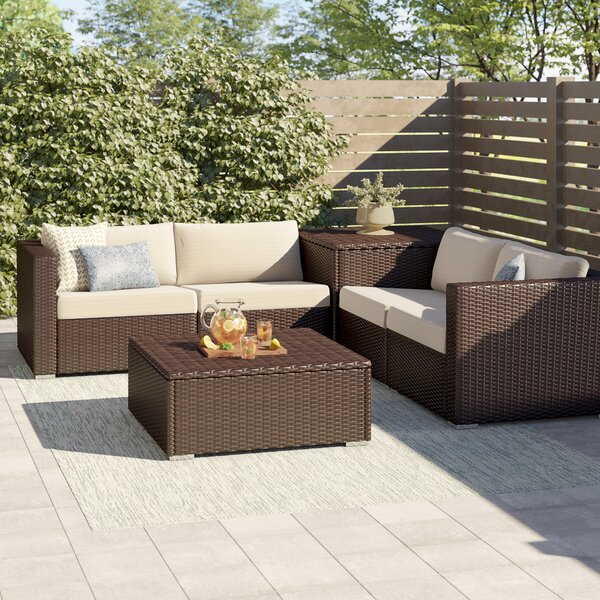 Coast 4 Piece Rattan Sectional Seating Group with Cushions by Sol 72 Outdoor