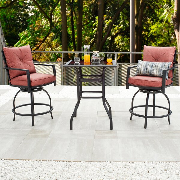 Zaina 3 Piece Bistro Set With Cushions By Alcott Hill®