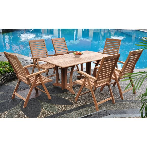 Stephon Luxurious 7 Piece Teak Dining Set by Rosecliff Heights