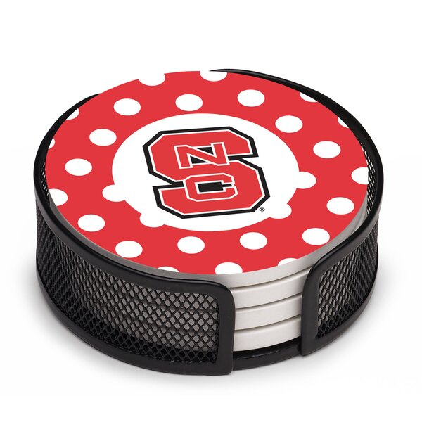 5 Piece North Carolina State University Dots Collegiate Coaster Gift Set by Thirstystone