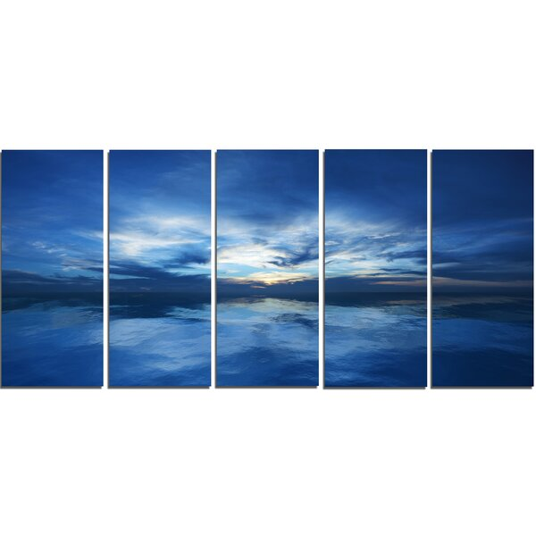 Blue Waters and Blue Sky Sunset 5 Piece Wall Art on Wrapped Canvas Set by Design Art