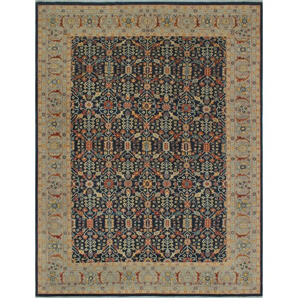 Longoria Traditional Chobi Knotted Wool Rectangle Blue Area Rug by Canora Grey