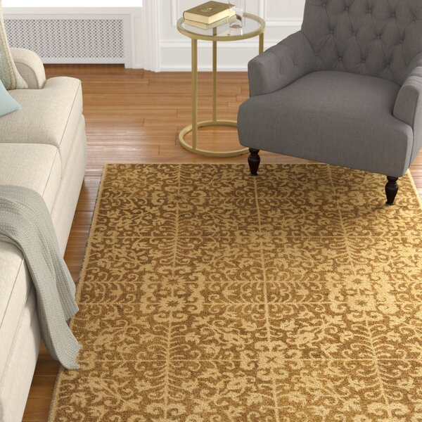 Dunbar Hand-Woven Wool Gold/Beige Area Rug by Charlton Home