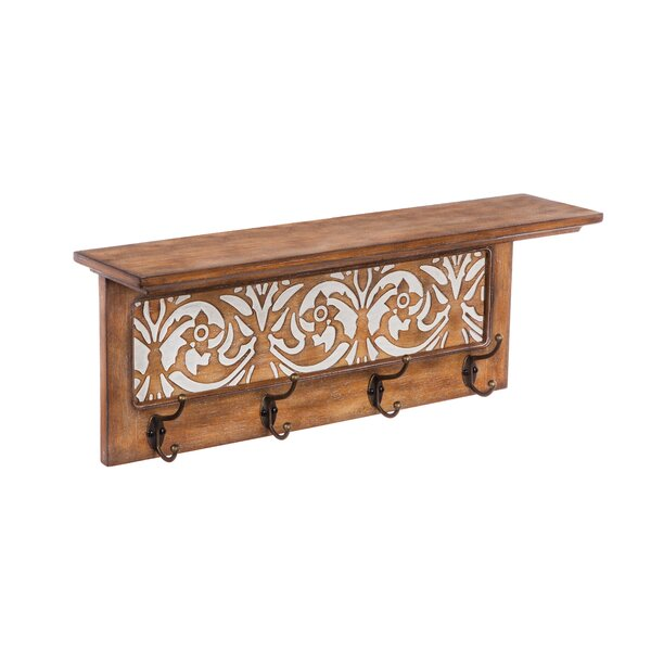 Coen Wood Wall Shelf with Hooks by August Grove