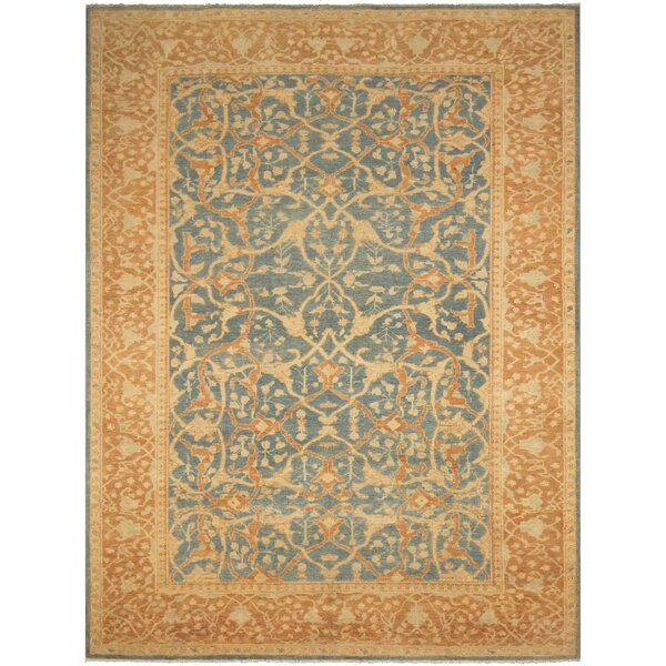 One-of-a-Kind Aarav Sun-Faded Hand-Knotted Wool Blue/Brown Area Rug by Isabelline