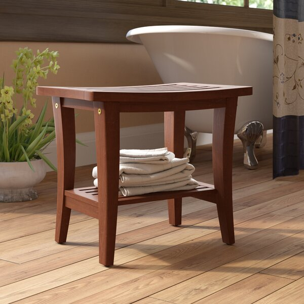 Souders Wooden Free Standing Shower Seat by Charlton Home