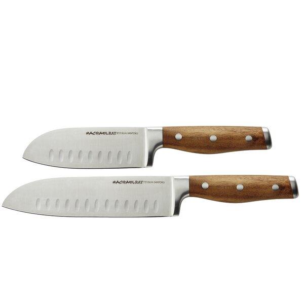 Cucina Cutlery 2 Piece Japanese Santoku Knife Set By Rachael Ray.