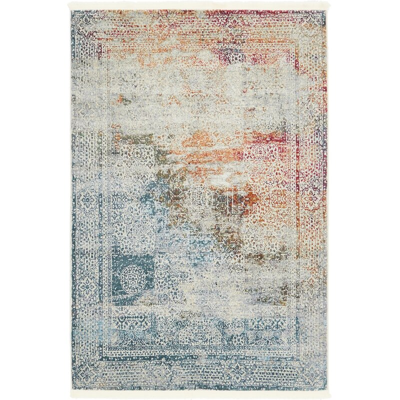 Bungalow Rose Lonerock Blue Off White Area Rug Amp Reviews