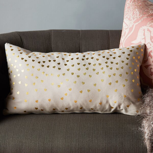 Urban Loft Foil Hearts Lumbar Pillow by Westex