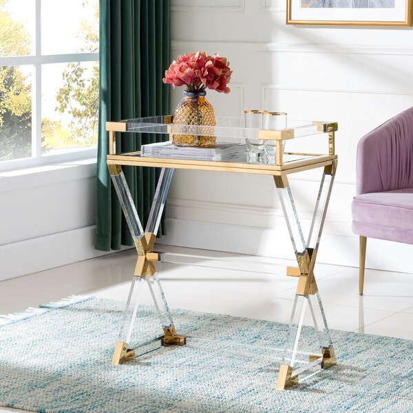 Bulloch Acrylic Serving Tray Table by Everly Quinn