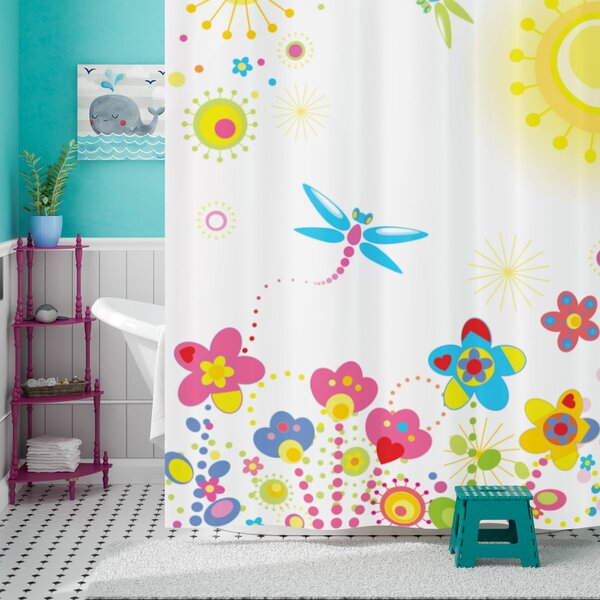 Anita Country Summer Floral Backdrop With Sun Rays and Colorful Dandelions Happiness Graphic Shower Curtain by Harriet Bee