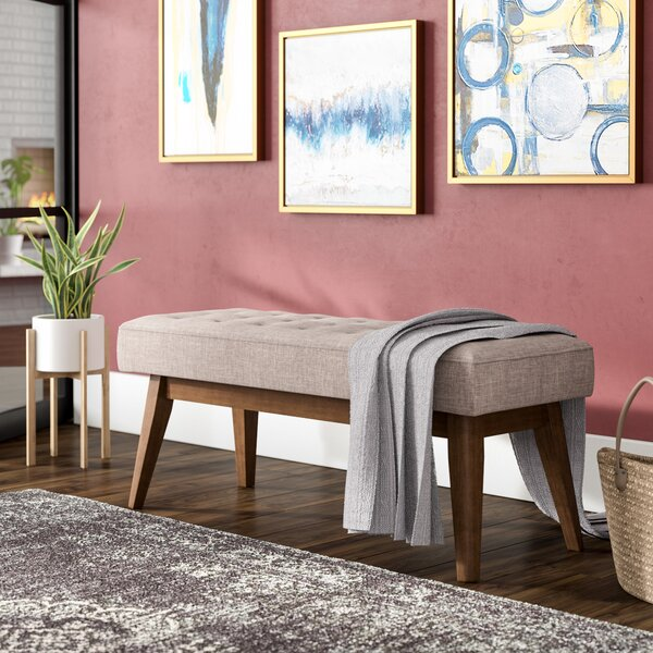 Faria Mid-Century Wood Entryway bench by Ivy Bronx