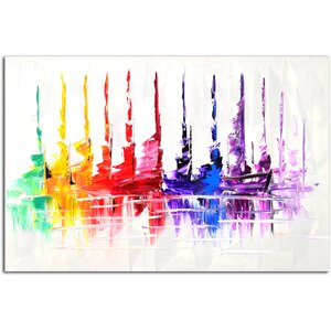 Colorful Launch Painting on Canvas by Omax Decor